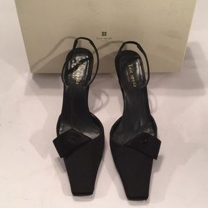 Kate spade black satin heels women's 7 M